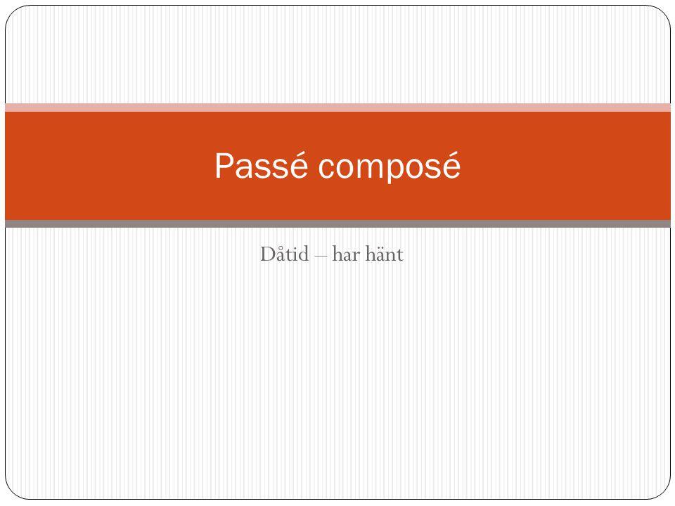 Dåtid – har hänt Passé composé