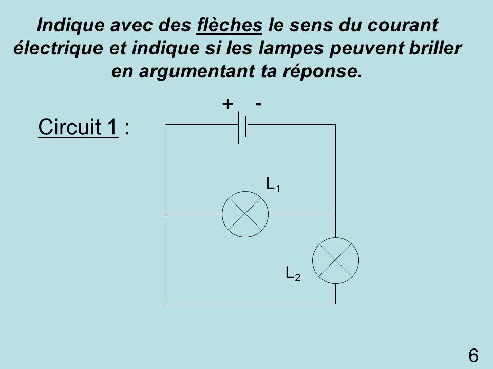 Circuit 1 : L1L1 L2L2 L1L1 +- Indique avec des flèches le sens du courant électrique et indique si les lampes peuvent briller en argumentant ta répons