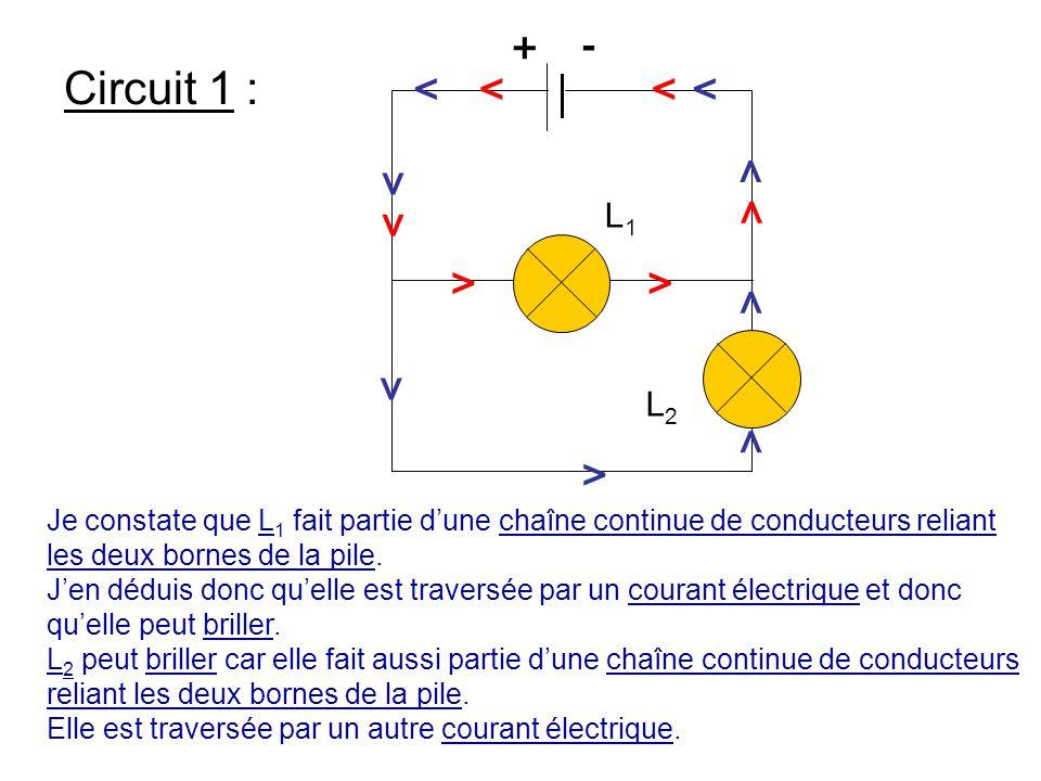 Circuit 1 : L1L1 L2L2 L1L1 >>> > > > > > > > > >> > +- Je constate que L 1 fait partie d'une chaîne continue de conducteurs reliant les deux bornes de