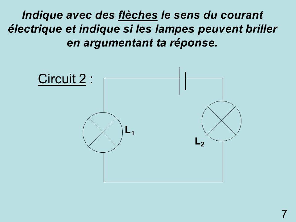 Circuit 2 : L1L1 L2L2 Indique avec des flèches le sens du courant électrique et indique si les lampes peuvent briller en argumentant ta réponse. 7