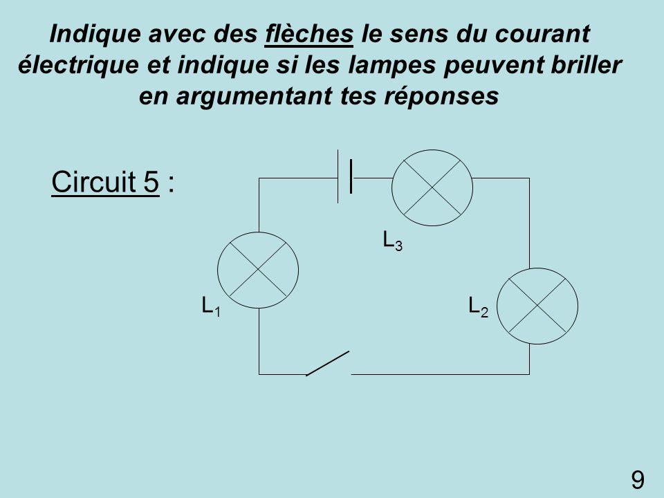 Circuit 5 : L1L1 L2L2 L3L3 Indique avec des flèches le sens du courant électrique et indique si les lampes peuvent briller en argumentant tes réponses