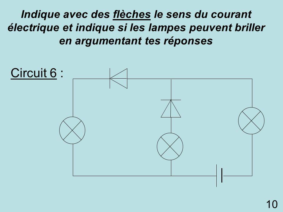 Circuit 6 : Indique avec des flèches le sens du courant électrique et indique si les lampes peuvent briller en argumentant tes réponses 10 L3L3 L1L1 L