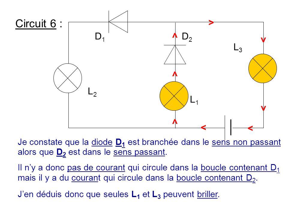 Circuit 6 : Je constate que la diode D 1 est branchée dans le sens non passant alors que D 2 est dans le sens passant. Il n'y a donc pas de courant qu