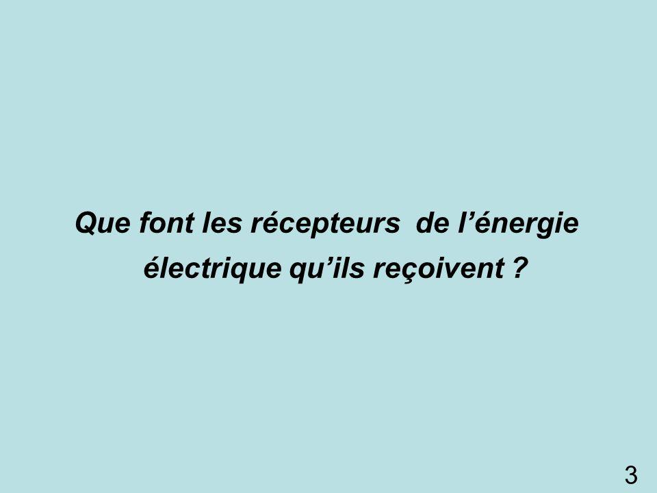 Que font les récepteurs de l'énergie électrique qu'ils reçoivent ? 3
