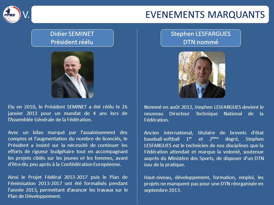 EVENEMENTS MARQUANTS Didier SEMINET Président réélu Stephen LESFARGUES DTN nommé Elu en 2010, le Président SEMINET a été réélu le 26 janvier 2013 pour un mandat de 4 ans lors de l'Assemblée Générale de la Fédération.