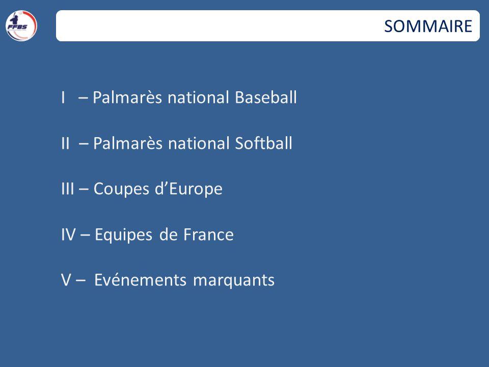 I – Palmarès national Baseball II – Palmarès national Softball III – Coupes d'Europe IV – Equipes de France V – Evénements marquants SOMMAIRE