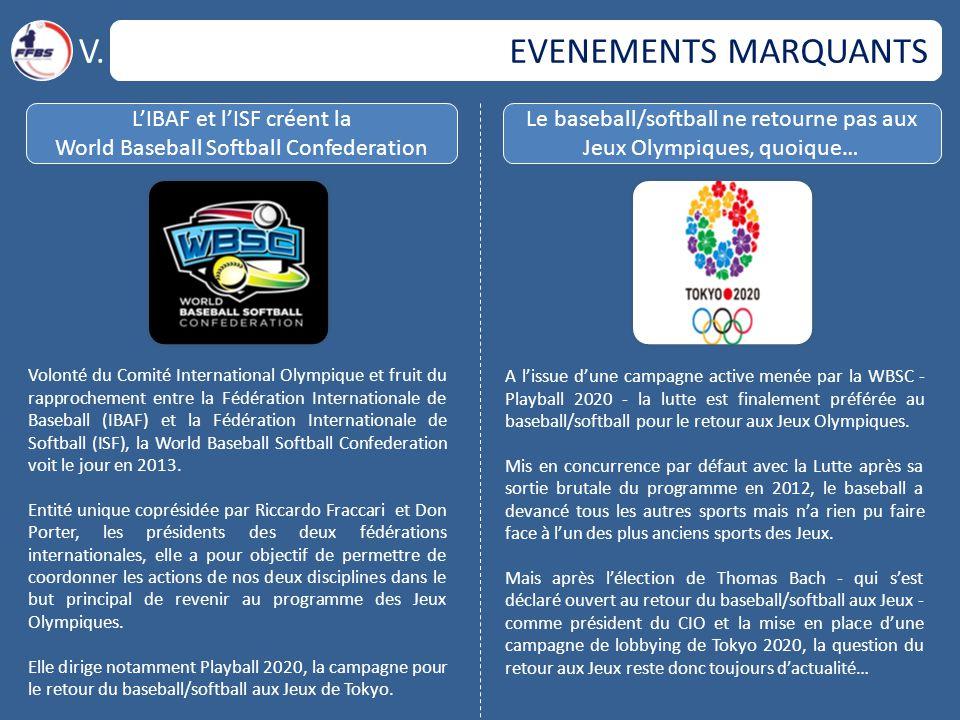 EVENEMENTS MARQUANTS V. L'IBAF et l'ISF créent la World Baseball Softball Confederation Le baseball/softball ne retourne pas aux Jeux Olympiques, quoi