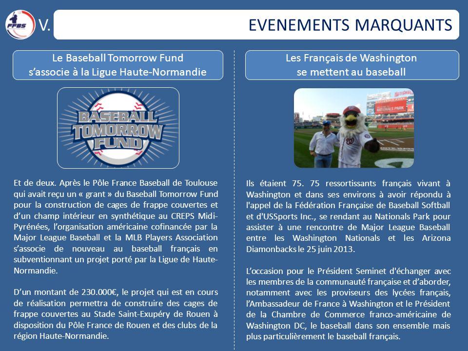 EVENEMENTS MARQUANTS V. Le Baseball Tomorrow Fund s'associe à la Ligue Haute-Normandie Les Français de Washington se mettent au baseball Et de deux. A