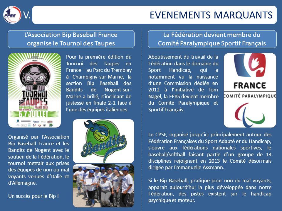 EVENEMENTS MARQUANTS V. L'Association Bip Baseball France organise le Tournoi des Taupes La Fédération devient membre du Comité Paralympique Sportif F