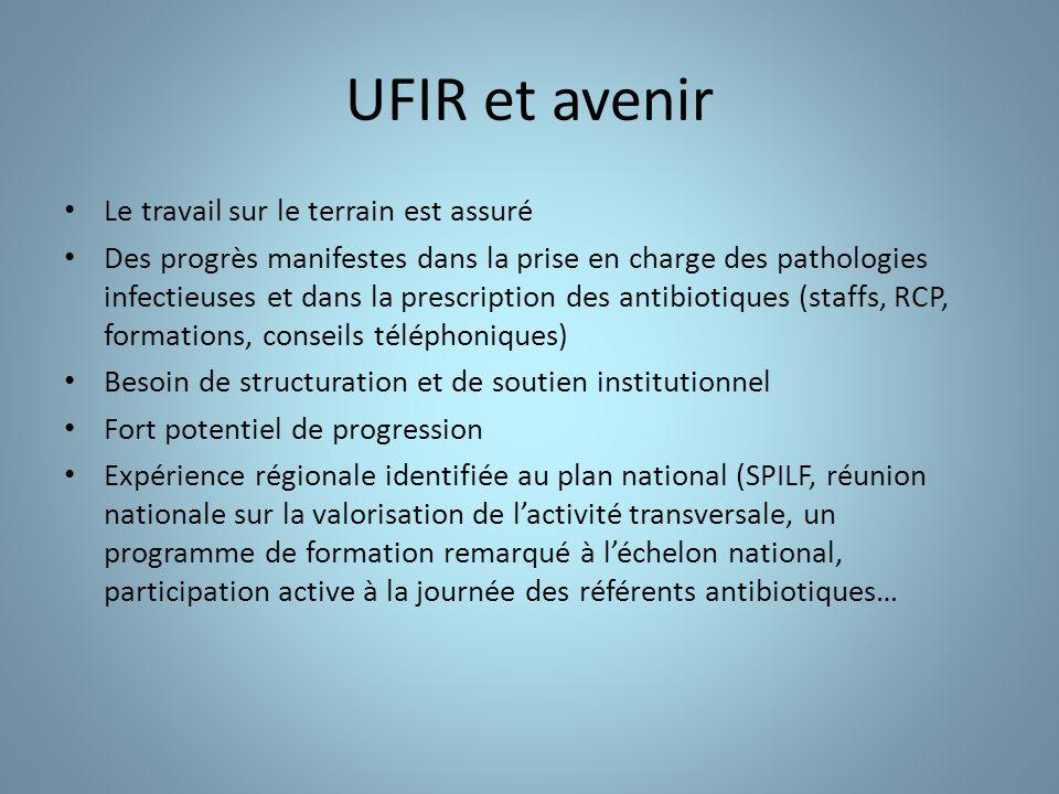 UFIR et avenir Le travail sur le terrain est assuré Des progrès manifestes dans la prise en charge des pathologies infectieuses et dans la prescriptio
