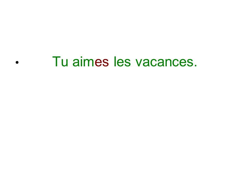Tu aimes les vacances.