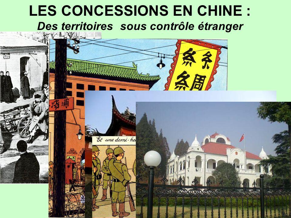 …/…  A partir de 1842 l'Empire mis en pièces doit céder aux occidentaux et au Japon à la suite de Traités inégaux des concessions commerciales ayant