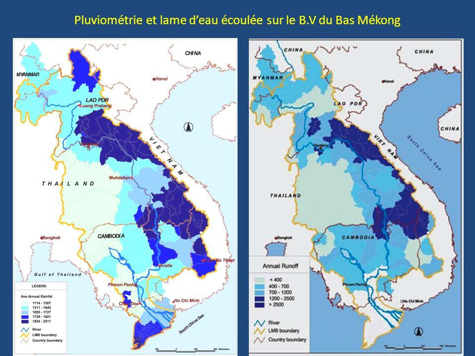 Pourcentage des apports provenant de chacun des pays riverains, tout au long du Mékong durant la saison des pluies et durant la saison sèche