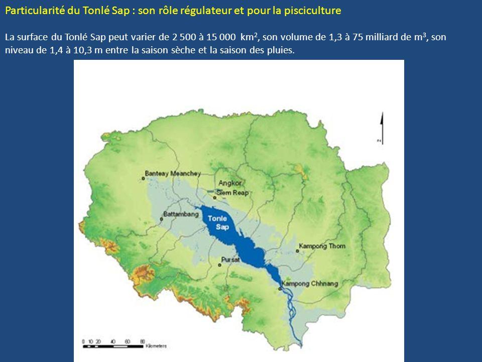 Particularité du Tonlé Sap : son rôle régulateur et pour la pisciculture La surface du Tonlé Sap peut varier de 2 500 à 15 000 km 2, son volume de 1,3 à 75 milliard de m 3, son niveau de 1,4 à 10,3 m entre la saison sèche et la saison des pluies.