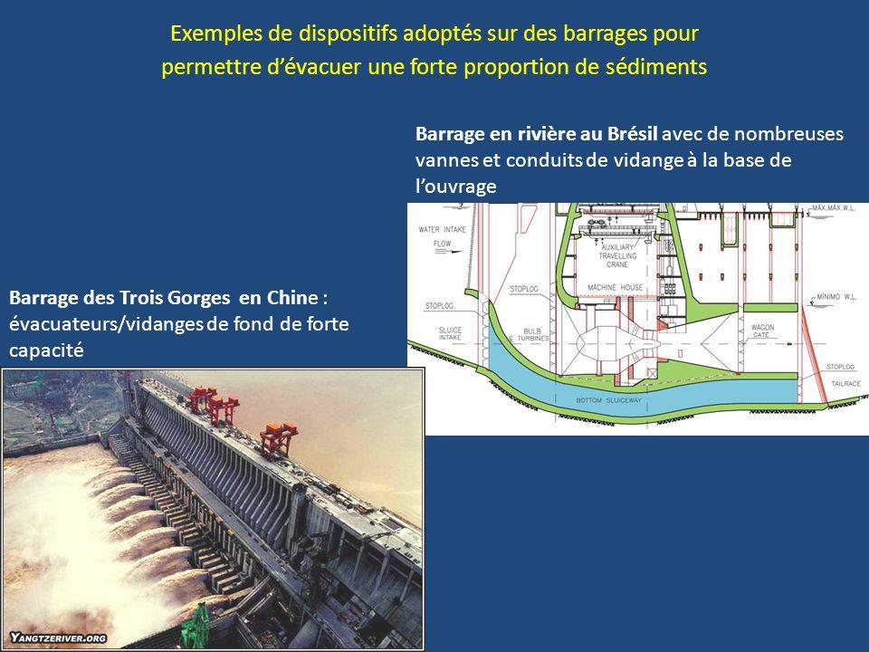 Exemples de dispositifs adoptés sur des barrages pour permettre d'évacuer une forte proportion de sédiments Barrage des Trois Gorges en Chine : évacuateurs/vidanges de fond de forte capacité Barrage en rivière au Brésil avec de nombreuses vannes et conduits de vidange à la base de l'ouvrage