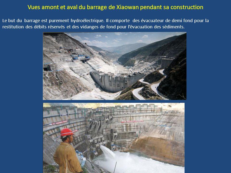 Vues amont et aval du barrage de Xiaowan pendant sa construction Le but du barrage est purement hydroélectrique.