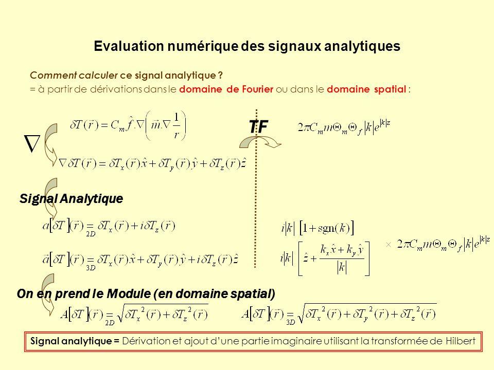 Evaluation numérique des signaux analytiques Comment calculer ce signal analytique ? = à partir de dérivations dans le domaine de Fourier ou dans le d