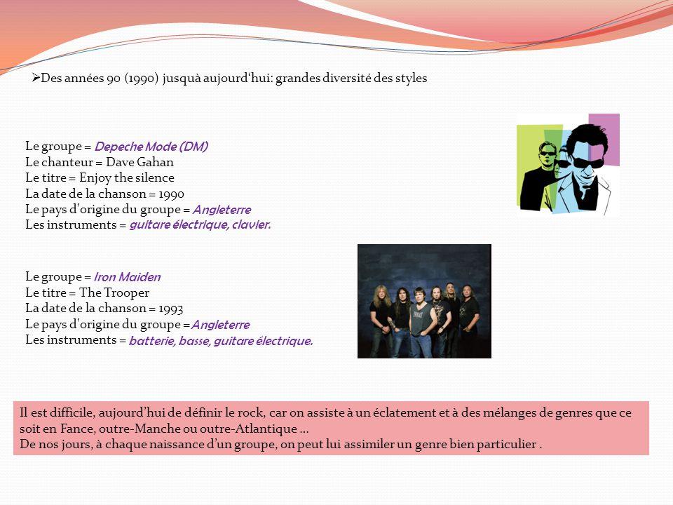  Des années 90 (1990) jusquà aujourd'hui: grandes diversité des styles Le groupe = Le chanteur = Dave Gahan Le titre = Enjoy the silence La date de l