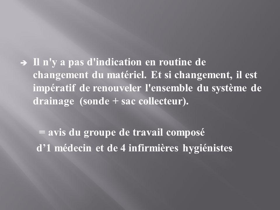  Il n'y a pas d'indication en routine de changement du matériel. Et si changement, il est impératif de renouveler l'ensemble du système de drainage (