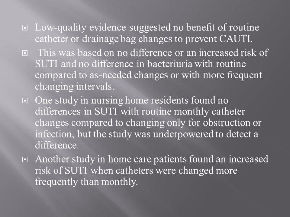  Low-quality evidence suggested no benefit of routine catheter or drainage bag changes to prevent CAUTI.  This was based on no difference or an incr