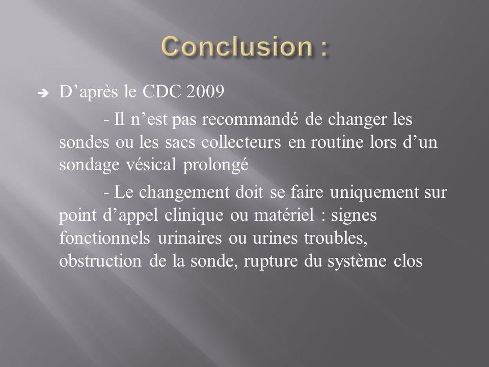  D'après le CDC 2009 - Il n'est pas recommandé de changer les sondes ou les sacs collecteurs en routine lors d'un sondage vésical prolongé - Le changement doit se faire uniquement sur point d'appel clinique ou matériel : signes fonctionnels urinaires ou urines troubles, obstruction de la sonde, rupture du système clos