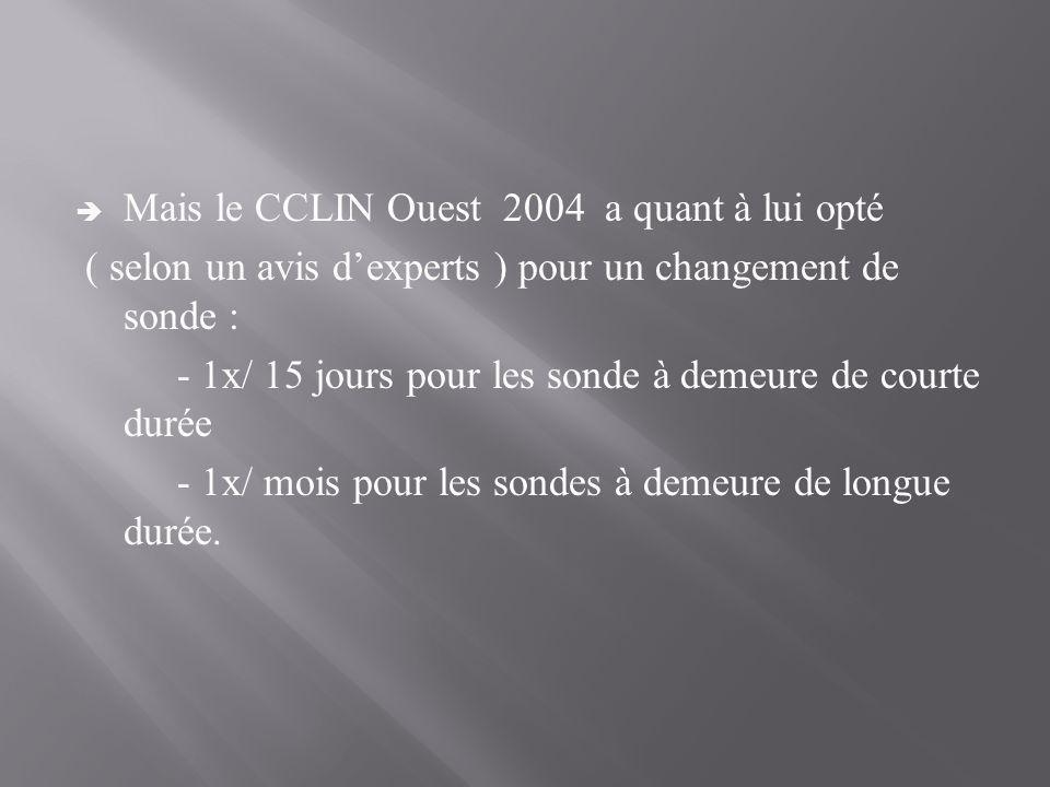  Mais le CCLIN Ouest 2004 a quant à lui opté ( selon un avis d'experts ) pour un changement de sonde : - 1x/ 15 jours pour les sonde à demeure de cou
