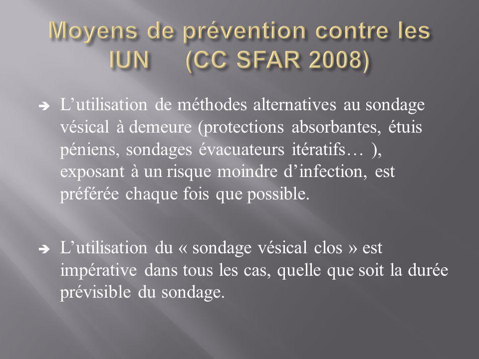  L'utilisation de méthodes alternatives au sondage vésical à demeure (protections absorbantes, étuis péniens, sondages évacuateurs itératifs… ), expo