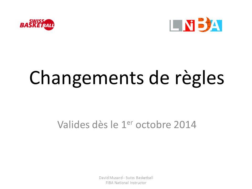Changements de règles Valides dès le 1 er octobre 2014 David Musard - Swiss Basketball FIBA National Instructor