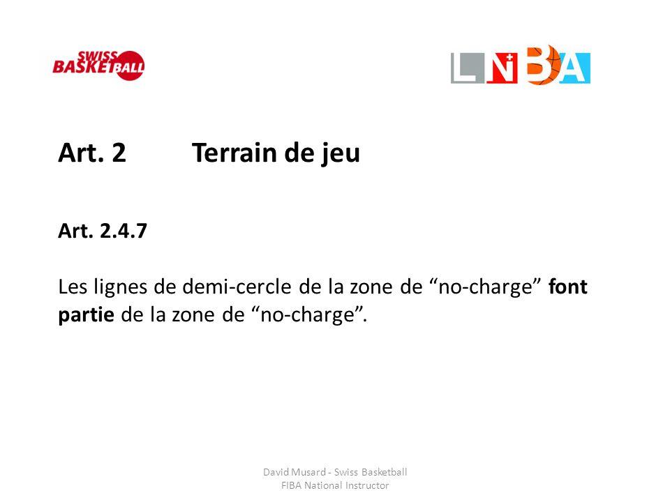"""Art. 2 Terrain de jeu Art. 2.4.7 Les lignes de demi-cercle de la zone de """"no-charge"""" font partie de la zone de """"no-charge""""."""