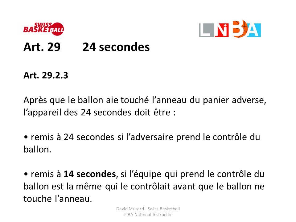 David Musard - Swiss Basketball FIBA National Instructor Art. 29 24 secondes Art. 29.2.3 Après que le ballon aie touché l'anneau du panier adverse, l'
