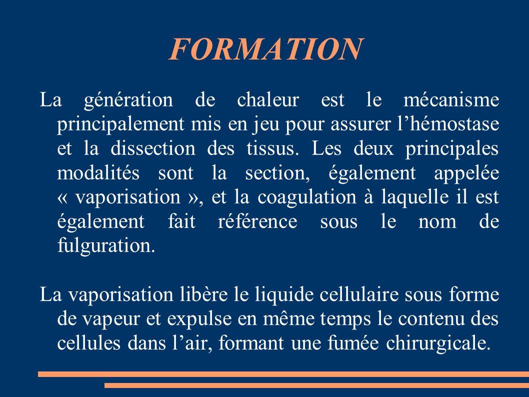 FORMATION La génération de chaleur est le mécanisme principalement mis en jeu pour assurer l'hémostase et la dissection des tissus. Les deux principal