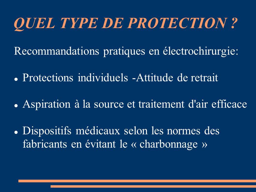 QUEL TYPE DE PROTECTION ? Recommandations pratiques en électrochirurgie: Protections individuels -Attitude de retrait Aspiration à la source et traite
