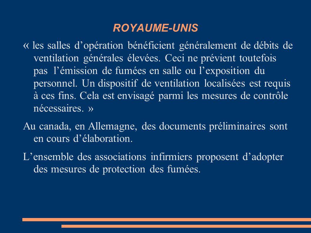 ROYAUME-UNIS « les salles d'opération bénéficient généralement de débits de ventilation générales élevées. Ceci ne prévient toutefois pas l'émission d