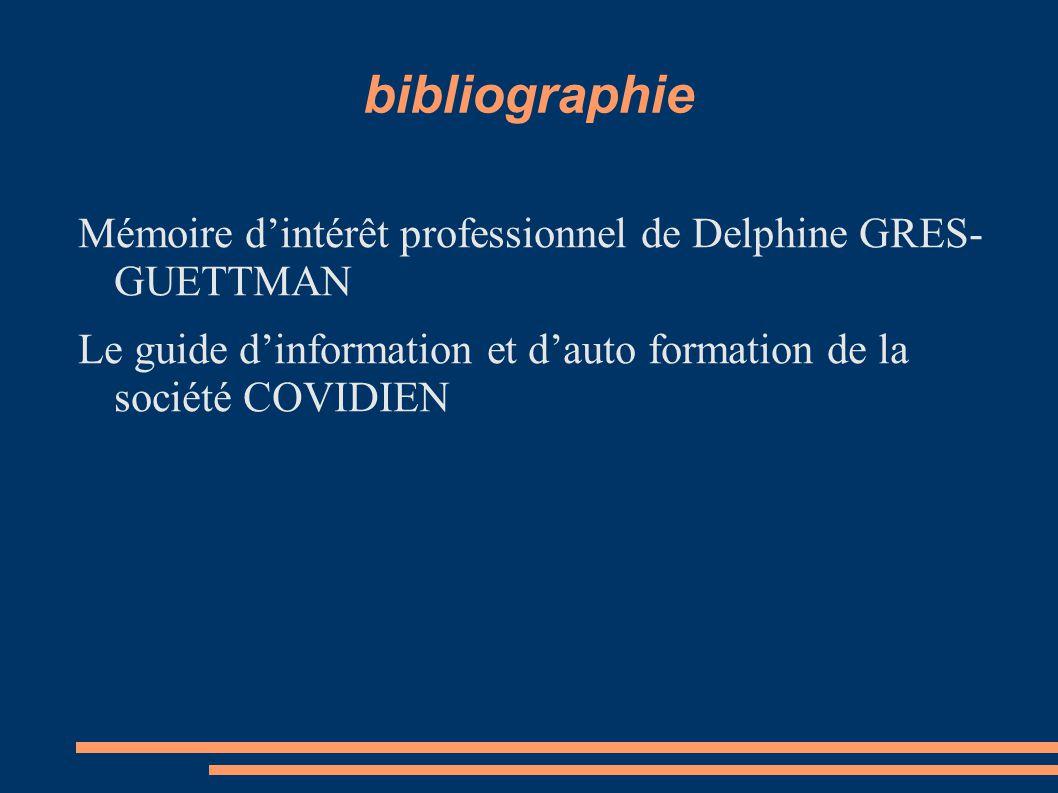 bibliographie Mémoire d'intérêt professionnel de Delphine GRES- GUETTMAN Le guide d'information et d'auto formation de la société COVIDIEN