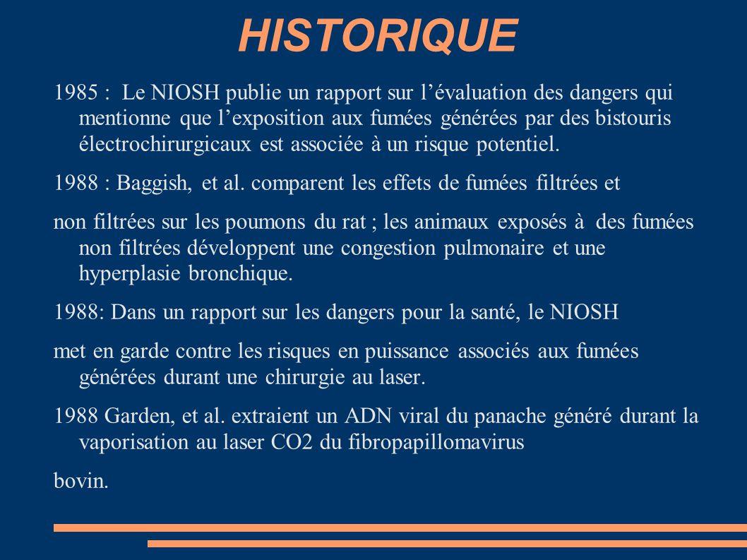 HISTORIQUE 1985 : Le NIOSH publie un rapport sur l'évaluation des dangers qui mentionne que l'exposition aux fumées générées par des bistouris électro