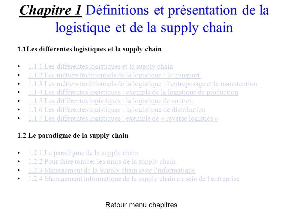 Chapitre 1 Définitions et présentation de la logistique et de la supply chain 1.1Les différentes logistiques et la supply chain 1.1.1 Les différentes logistiques et la supply chain 1.1.2 Les métiers traditionnels de la logistique : le transport 1.1.3 Les métiers traditionnels de la logistique : l entreposage et la manutention 1.1.4 Les différentes logistiques : exemple de la logistique de production 1.1.5 Les différentes logistiques : la logistique de soutien 1.1.6 Les différentes logistiques : la logistique de distribution 1.1.7 Les différentes logistiques : exemple de « reverse logistics » 1.2 Le paradigme de la supply chain 1.2.1 Le paradigme de la supply chain 1.2.2 Pour faire tomber les murs de la supply chain 1.2.3 Management de la Supply chain avec l informatique 1.2.4 Management informatique de la supply chain au sein de l entreprise Retour menu chapitres