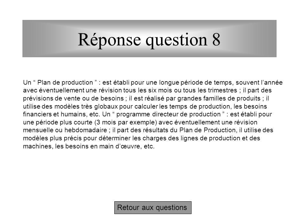"""Questions 8 - Après la lecture complémentaire ci-dessus, quelles différences y a-t-il en MRP entre un """" Plan de production """" et un """" Programme directe"""