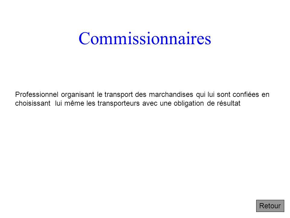Commissionnaires Professionnel organisant le transport des marchandises qui lui sont confiées en choisissant lui même les transporteurs avec une obligation de résultat Retour