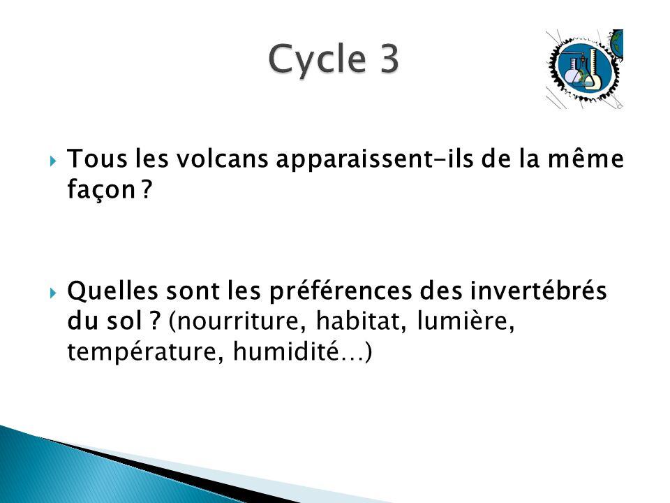  Tous les volcans apparaissent-ils de la même façon ?  Quelles sont les préférences des invertébrés du sol ? (nourriture, habitat, lumière, températ