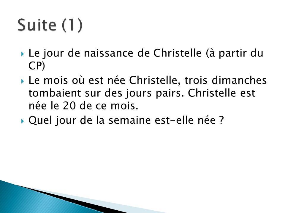  Le jour de naissance de Christelle (à partir du CP)  Le mois où est née Christelle, trois dimanches tombaient sur des jours pairs. Christelle est n