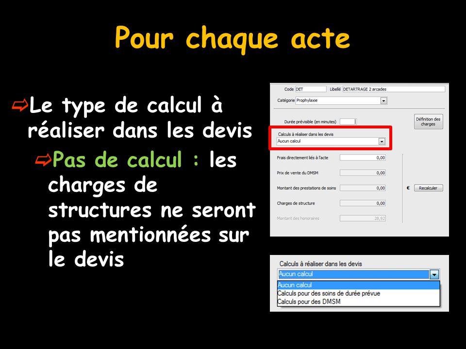 Pour chaque acte  Le type de calcul à réaliser dans les devis  Pas de calcul : les charges de structures ne seront pas mentionnées sur le devis