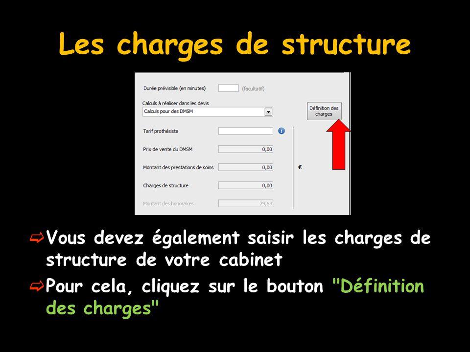 Les charges de structure  Vous devez également saisir les charges de structure de votre cabinet  Pour cela, cliquez sur le bouton