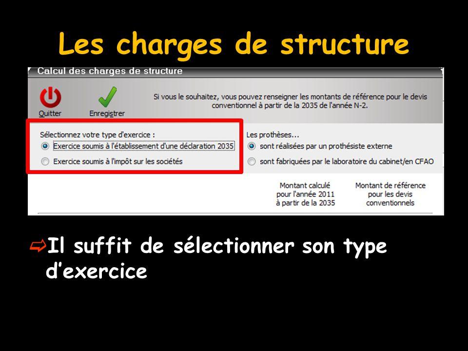 Les charges de structure  Il suffit de sélectionner son type d'exercice