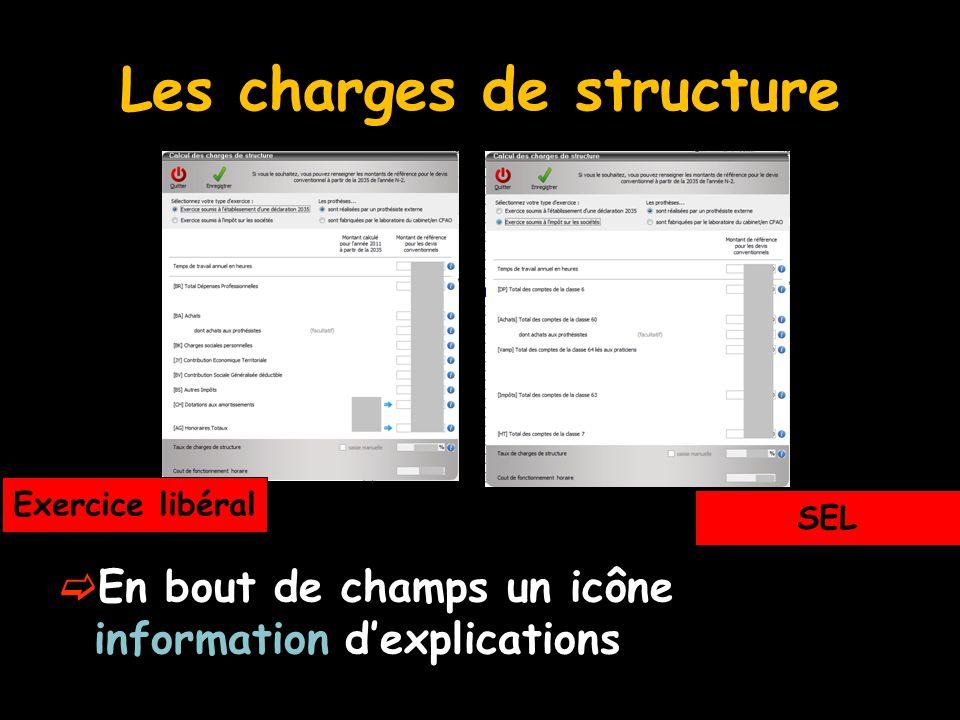 Les charges de structure  En bout de champs un icône information d'explications Exercice libéral SEL