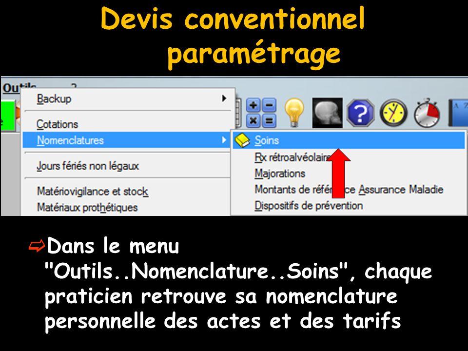 Devis conventionnel paramétrage  Dans le menu