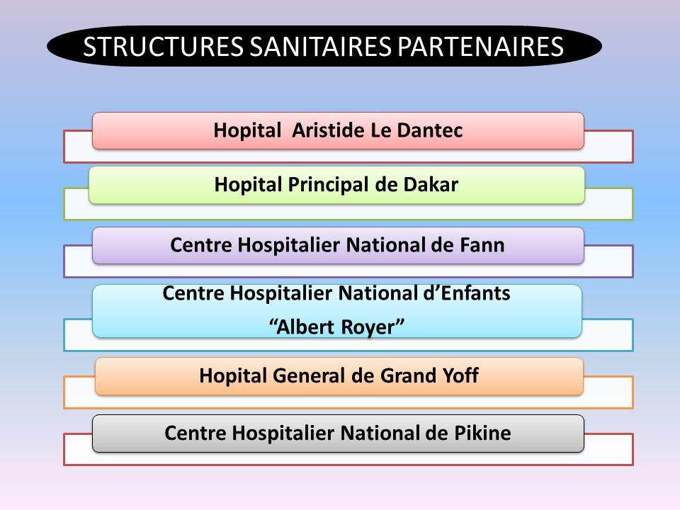 Hopital Aristide Le DantecHopital Principal de DakarCentre Hospitalier National de Fann Centre Hospitalier National d'Enfants Albert Royer Hopital General de Grand YoffCentre Hospitalier National de Pikine STRUCTURES SANITAIRES PARTENAIRES