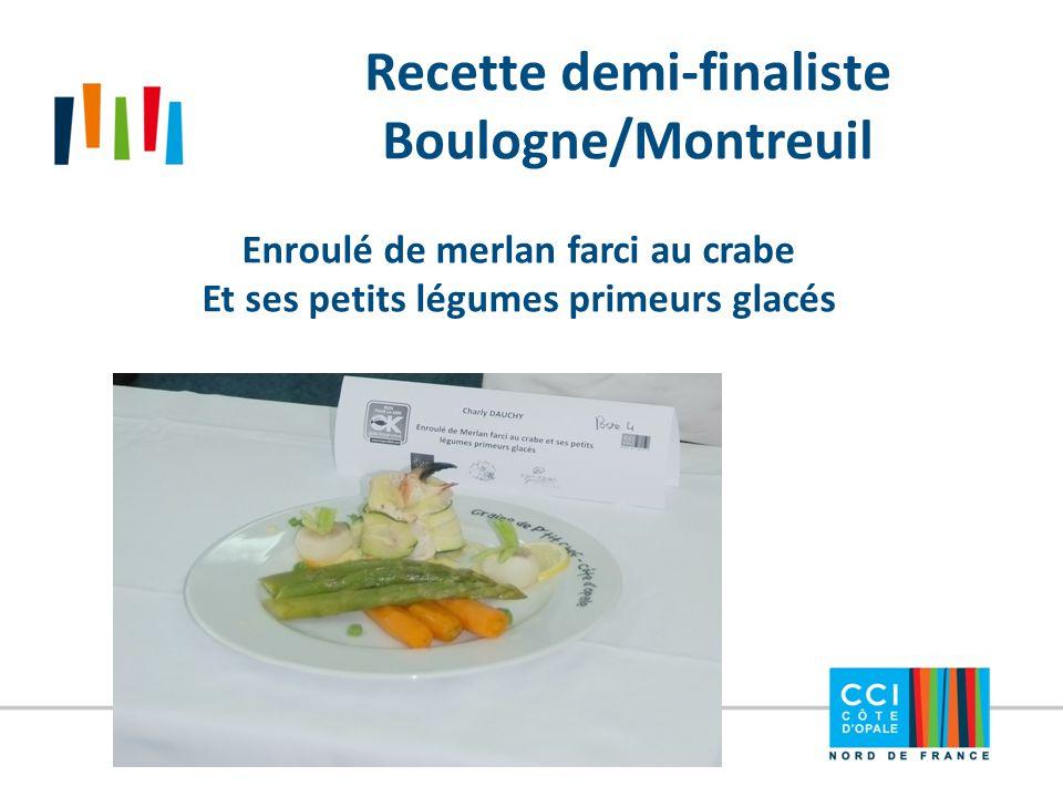 Recette demi-finaliste Boulogne/Montreuil Enroulé de merlan farci au crabe Et ses petits légumes primeurs glacés