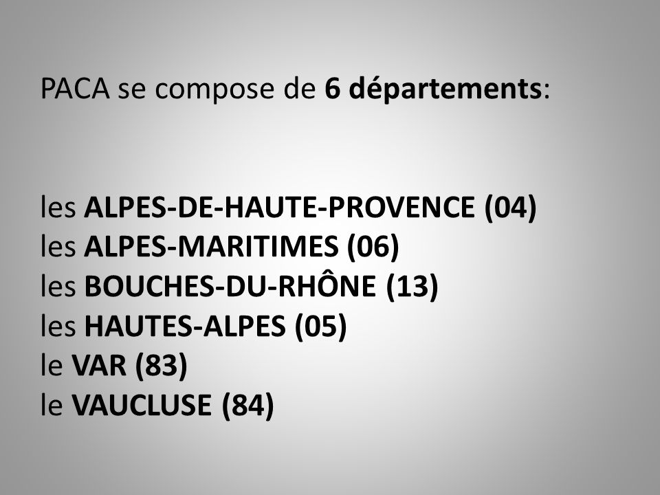 PACA se compose de 6 départements: les ALPES-DE-HAUTE-PROVENCE (04) les ALPES-MARITIMES (06) les BOUCHES-DU-RHÔNE (13) les HAUTES-ALPES (05) le VAR (83) le VAUCLUSE (84).