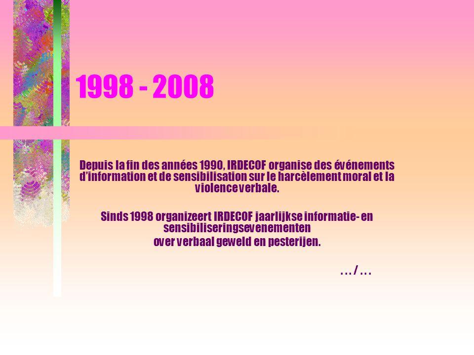 1998 - 2008 De wet tegen geweld, pesterijen en ongewenste intimiteiten op het werk trad in juni 2002 in werking.