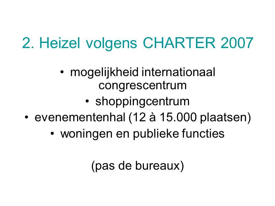 2. Heizel volgens CHARTER 2007 mogelijkheid internationaal congrescentrum shoppingcentrum evenementenhal (12 à 15.000 plaatsen) woningen en publieke f